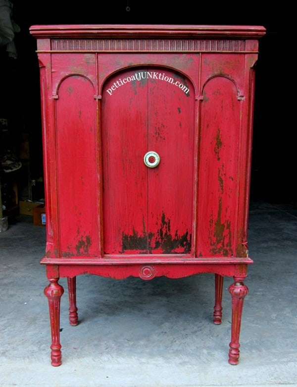 Miss Mustard Seeds Milk Paint Tricycle Red Vintage Cabinet. Sharing tips and tricks for using Milk paint.