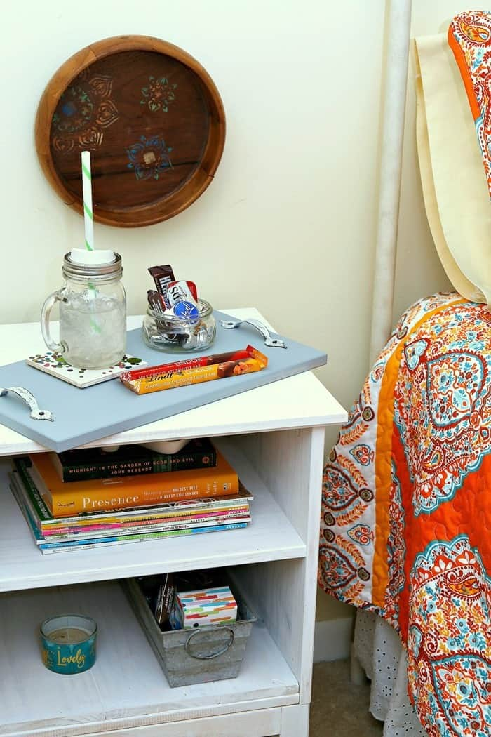 white guest room nightstand IKEA hack