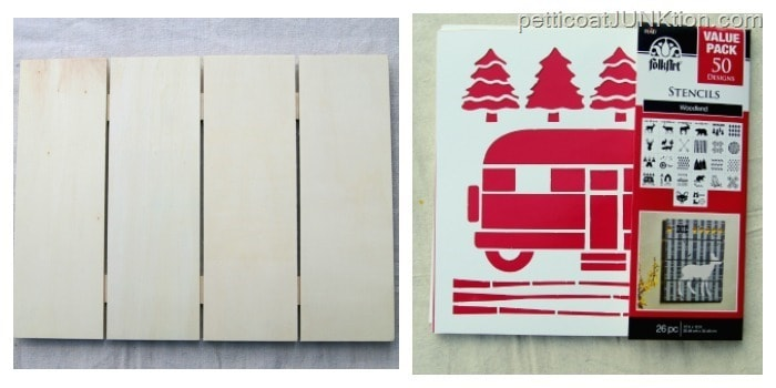 Woodland FolkArt Value Pack stencils and wood sign