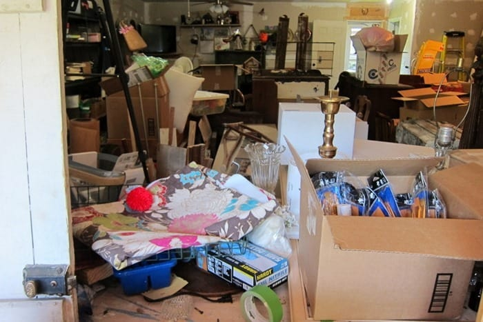 disorganized workshop with tons of junk treasures