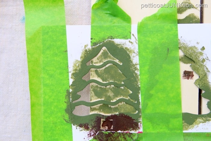 green tree stenciled
