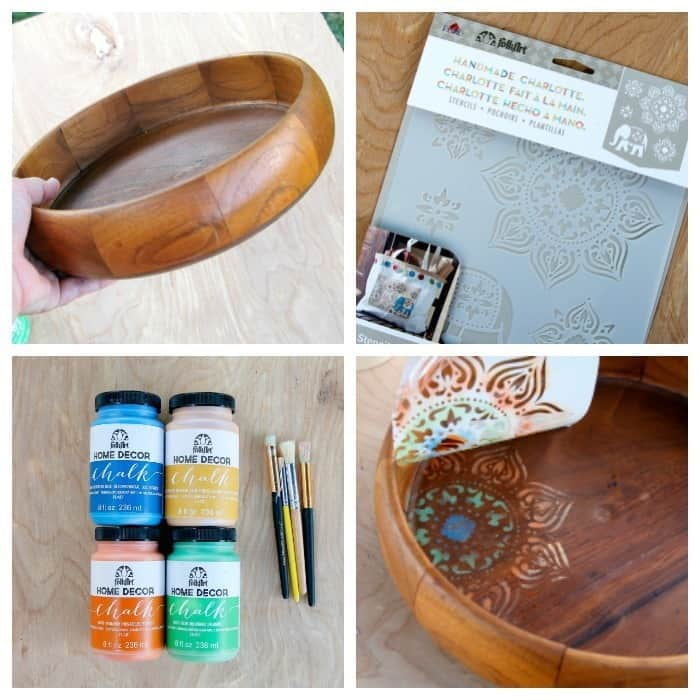 how to stencil a wood bowl