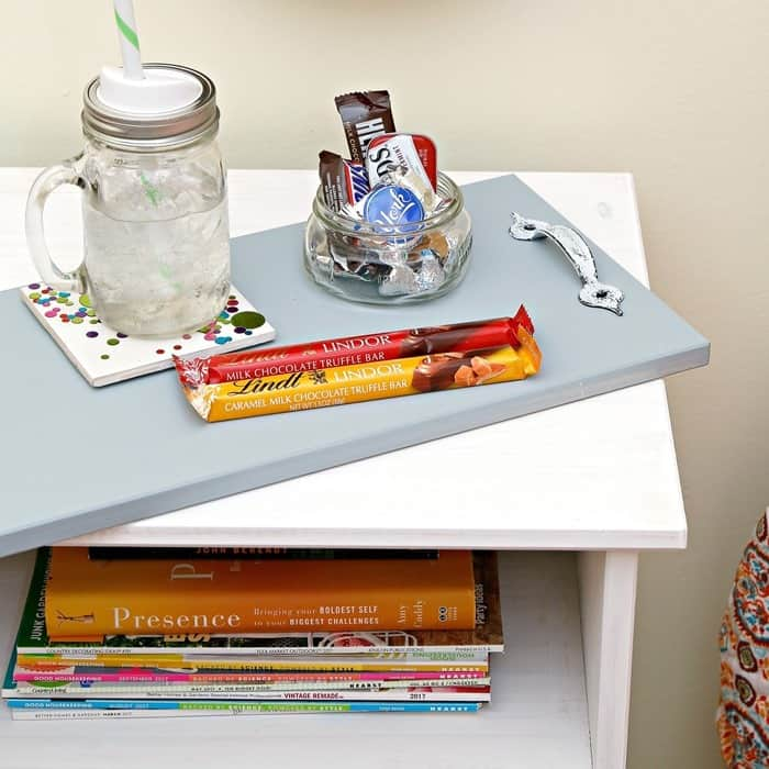 serving tray for guest room nightstand made from drawer front