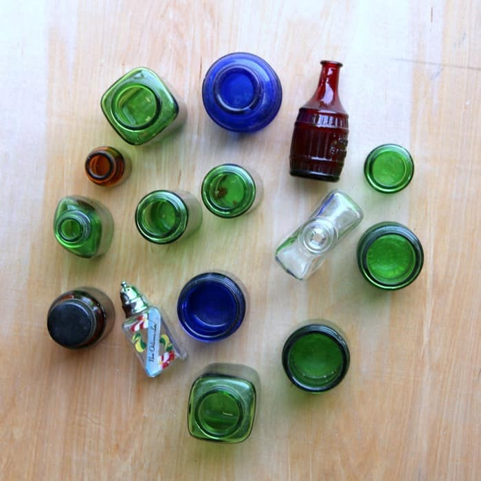 small collectible colored bottles