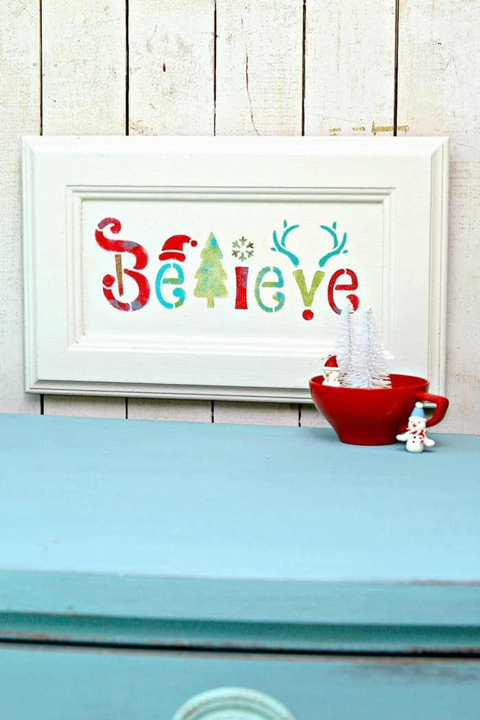 stenciled wall decor with Believe for Christmas or holiday