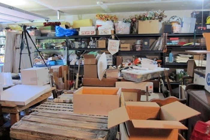 workshop shelves filled with junk treasures