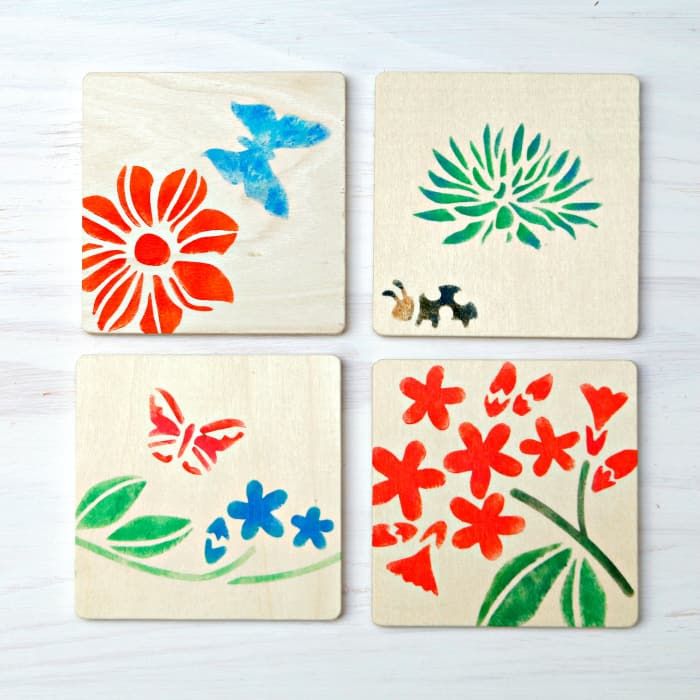 DIY stenciled unfinished wood coasters Martha Stewart Crafts