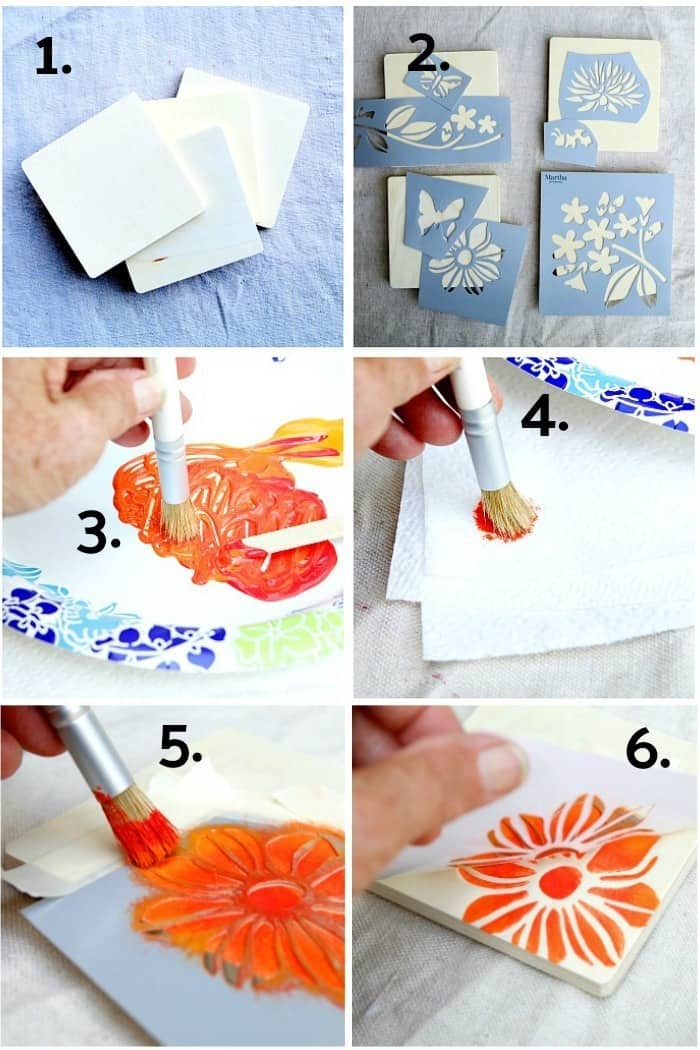 How To Stencil Wood Coasters