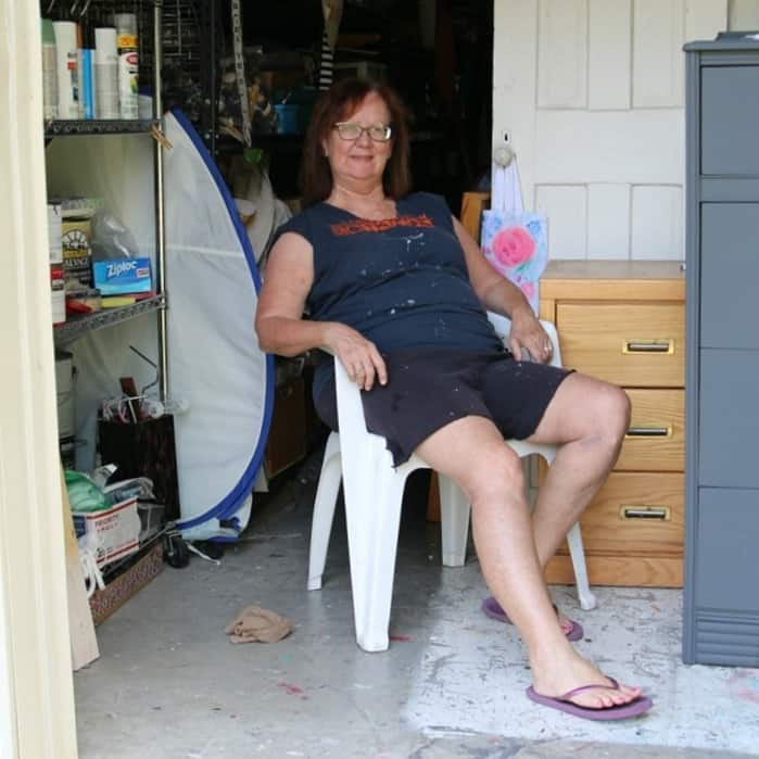 Kathy Owen Petticoat Junktion chillin' in the workshop and a challenge
