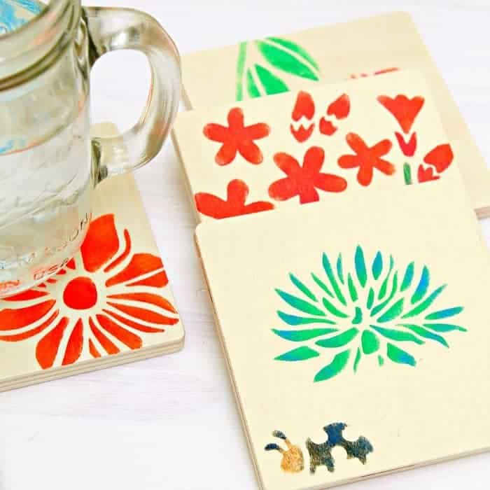 Stenciled Wood Coasters Make Great Gifts