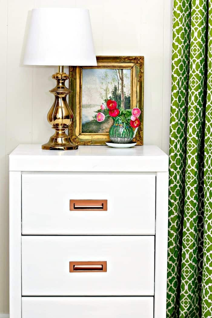 Ugly Office Furniture Painted Glossy White With Copper Hardware