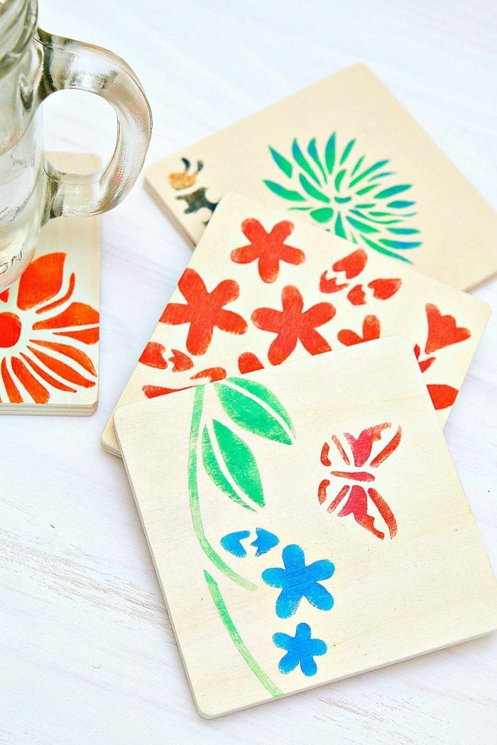 Wood Coasters stenciled with Martha Stewart Acrylic Paint and Stencils