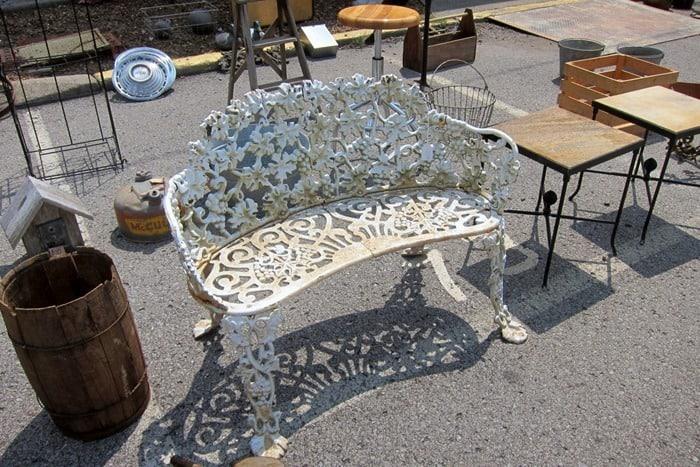 fancy wrought iron bench