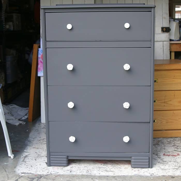 gray furniture with white knobs