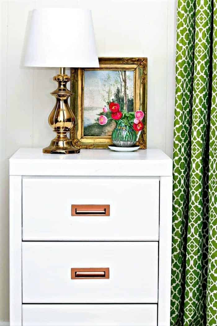paint furniture drawer pulls and hardware with metallic copper spray paint