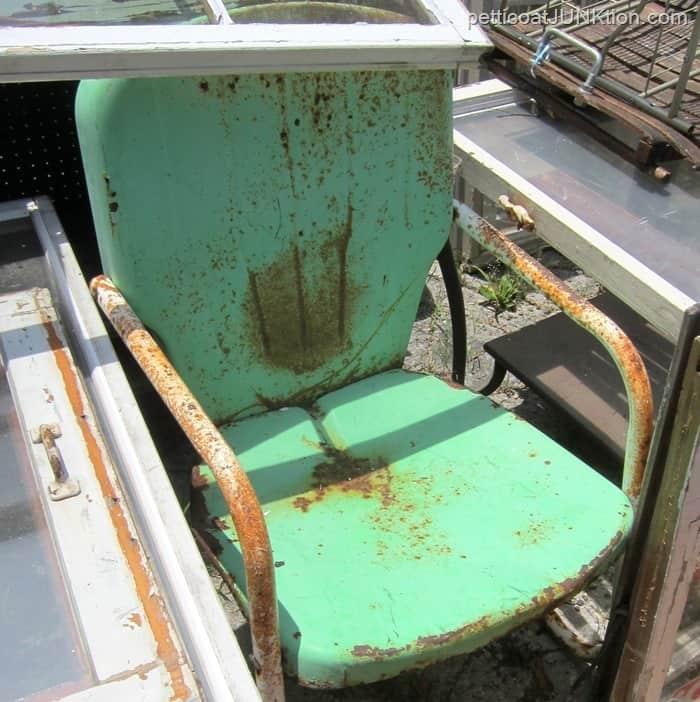 vintage green metal lawn chair