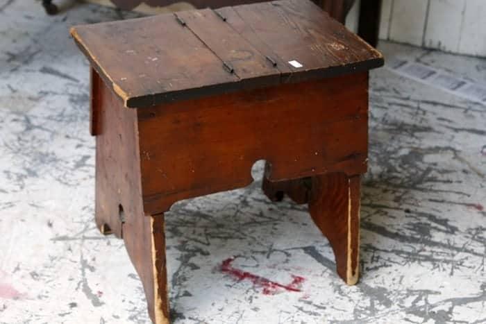 vintage handmade wood shoe shine box