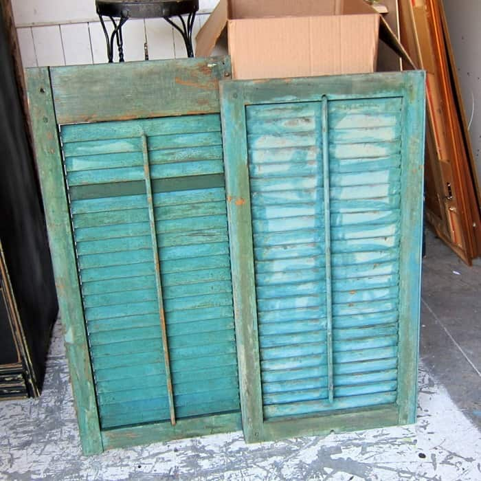 vintage turquoise and green shutters