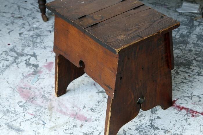 vintage wood shoe shine box
