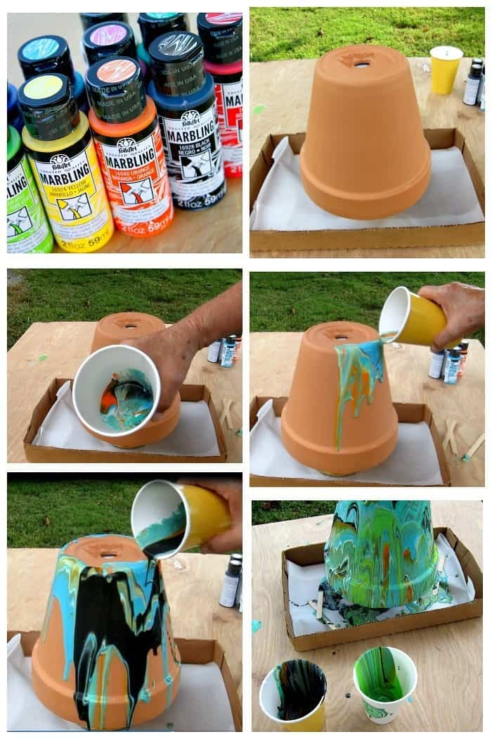 How to faux marble a terra cotta pot