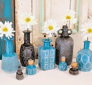 Spray Paint Glass Bottles And Decanters Then Dry Brush
