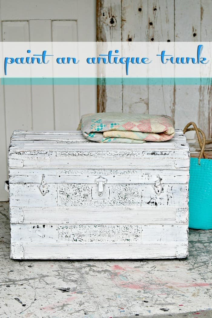 antique trunk painted white and distressed