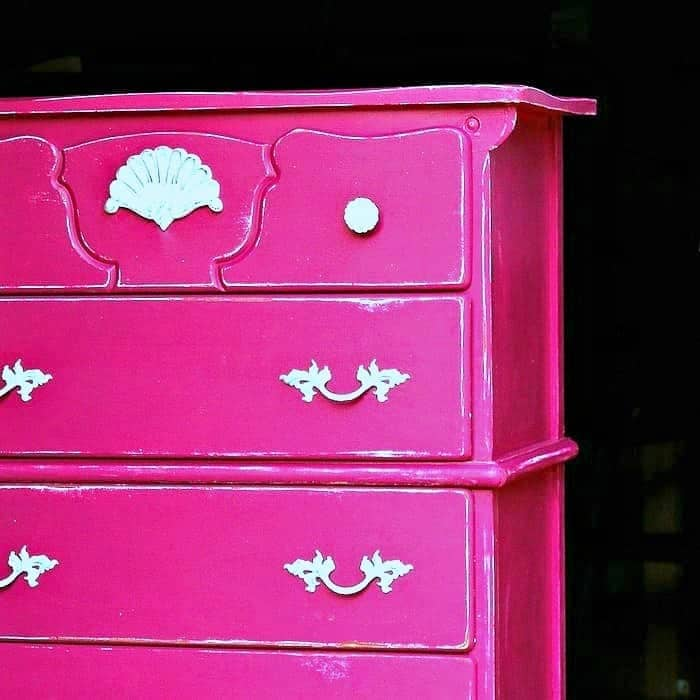 guy furniture to girl furniture with paint, new drawer pulls, and new decal
