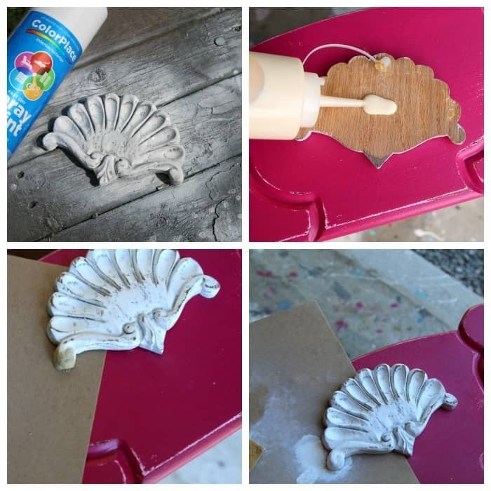 wood shell applique for furniture painted with white spray paint