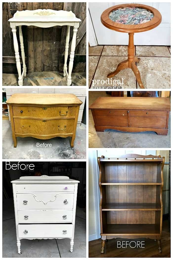 Furniture Fixer Uppers October 2018 before project makeovers