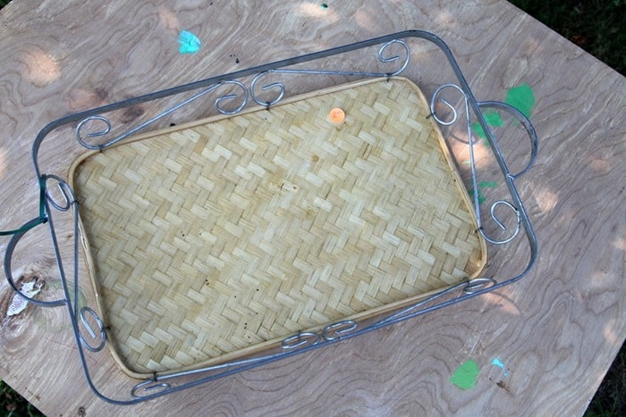 Yard sale metal and rattan tray