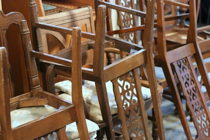 chairs in the workshop wating to be painted