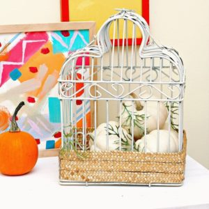 White Bird Cage Makeover And Rustic Pumpkin Filled Container
