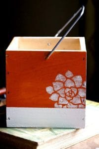 wood caddy painted and stenciled