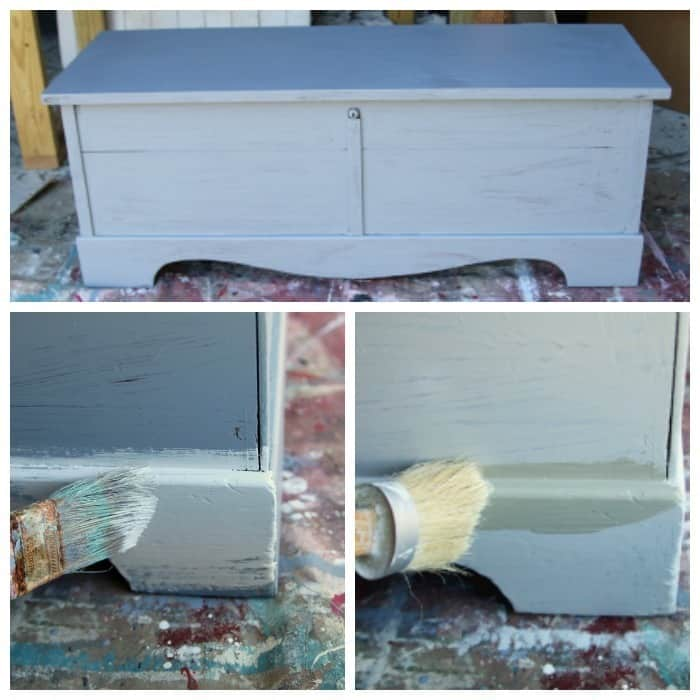 painting and priming a lane cedar chest