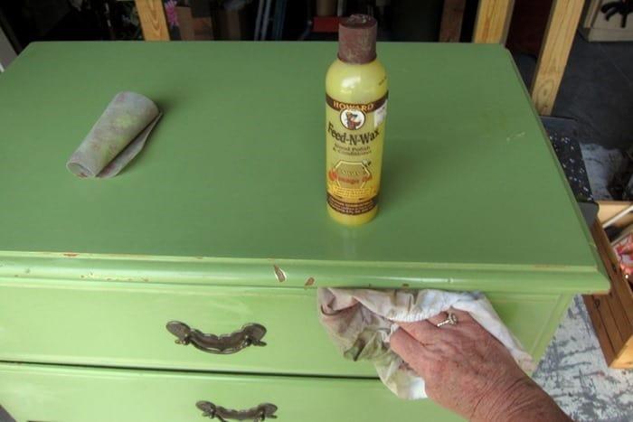 sanding bad areas on painted furniture