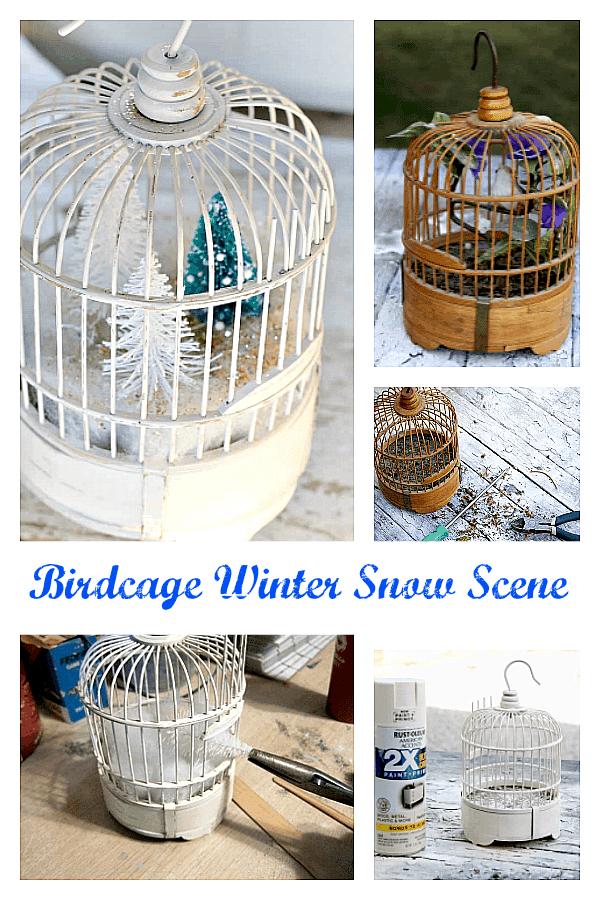 DIY Wood Bird Cage Winter Snow Scene