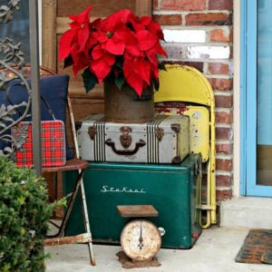 Christmas porch decorating with favorite vintage finds