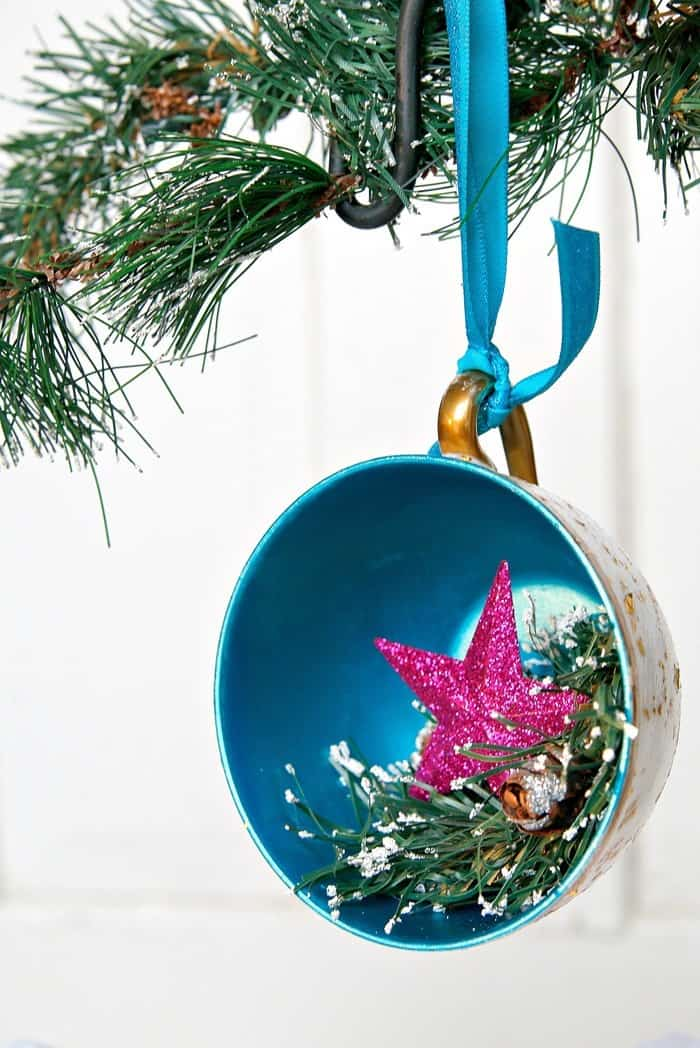 DIY Christmas Tree Ornament Made From A Teacup