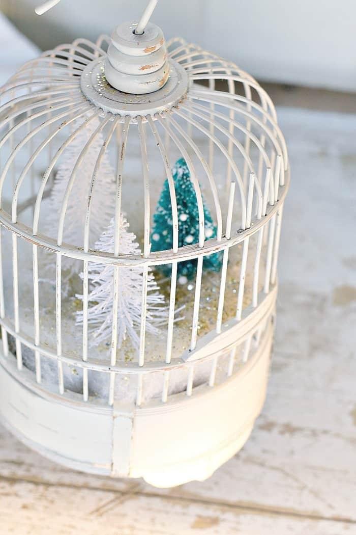DIY winter scene in a bird cage