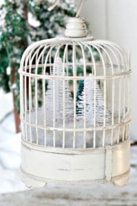 Wood Bird Cage With A Winter Snow Scene