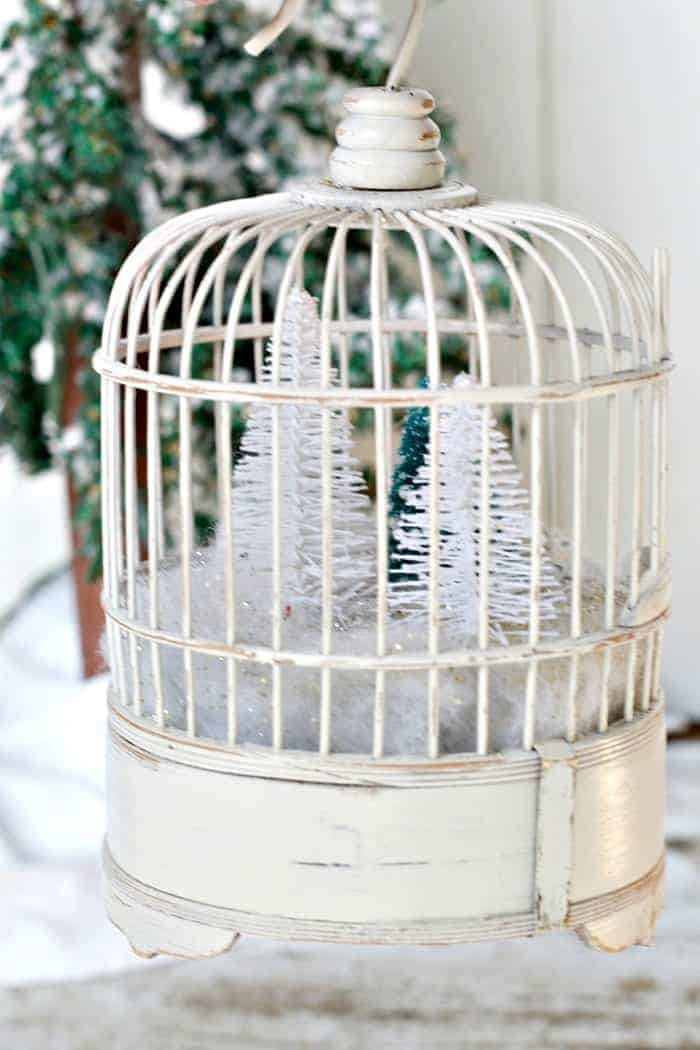 Fill A .99 Cent Wood Bird Cage With A Winter Snow Scene