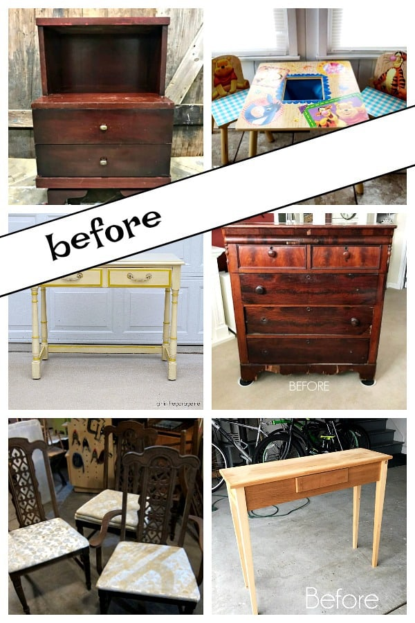 Furniture photos before paint makeovers by the Furniture Fixer Uppers
