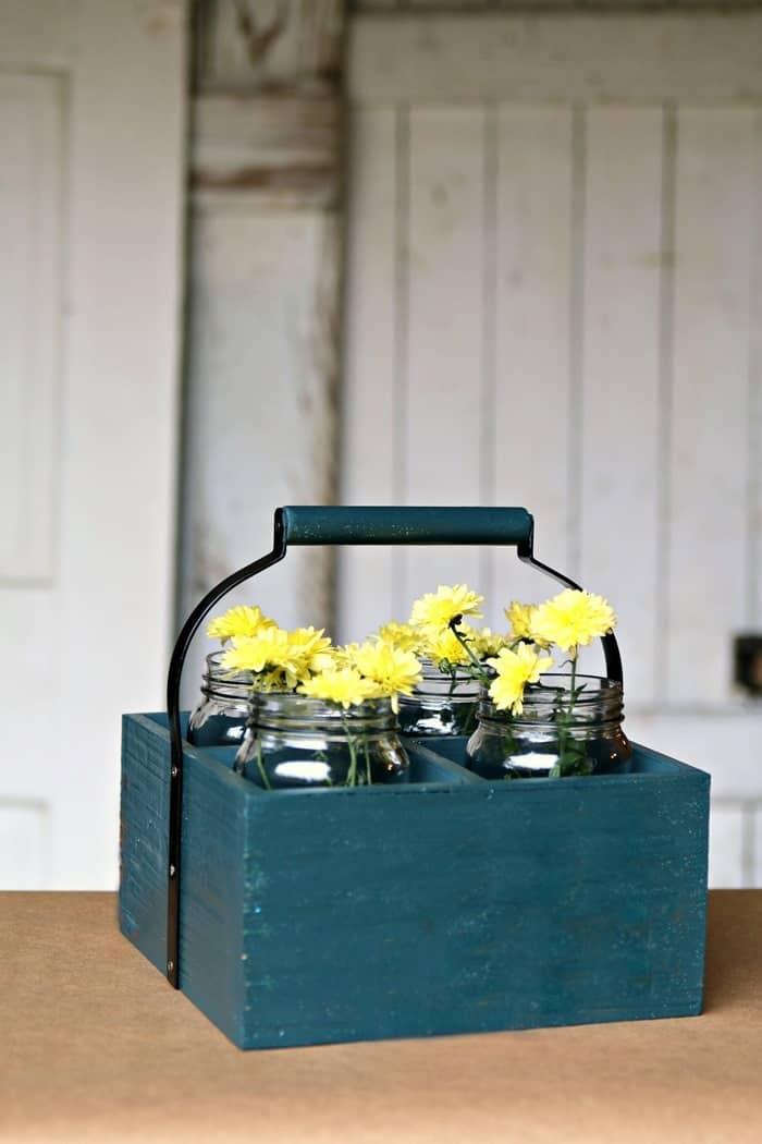 Make A Fun Multi-Functional Wood Caddy Fall Flower Centerpiece