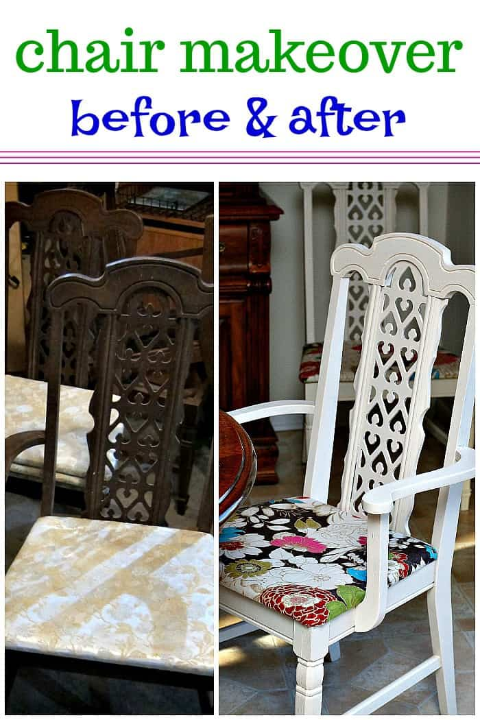 chair makeover before and after with paint and new fabric seat
