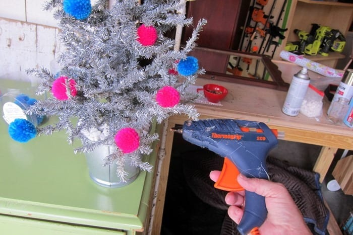 hot glue for tinsel tree project