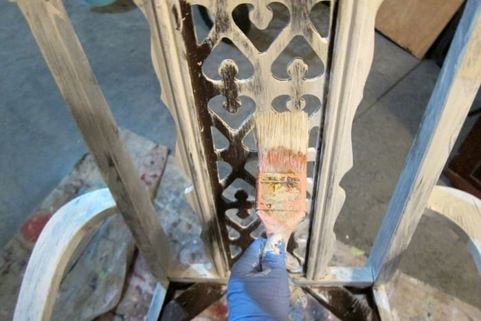 painting details on dining room chairs