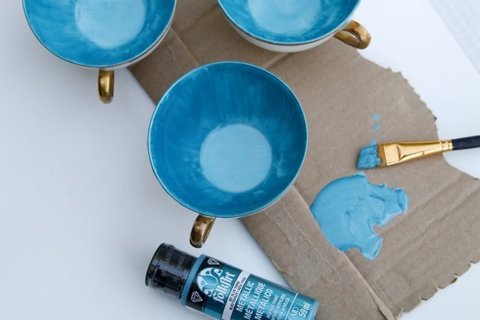 painting teacups with acrylic paint