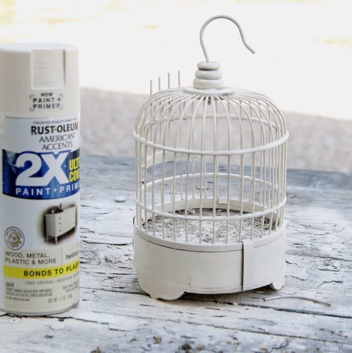 spray paint a wood bird cage with Rustoleum Satin Spray Paint