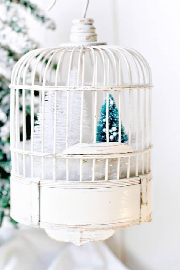 bird cage winter snow scene