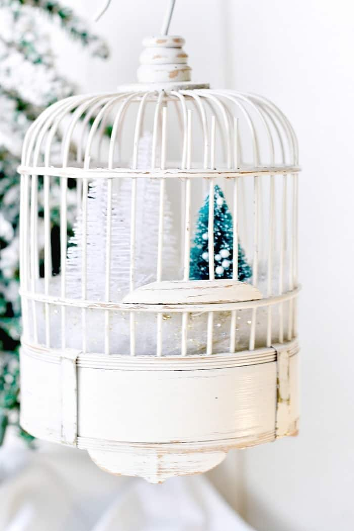 winter snow scene in a bird cage